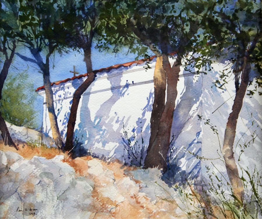 Pam-Williams-Sunlit-church-Greece-watercolour