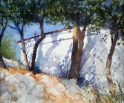 Pam-Williams-Sunlit-church-Greece-watercolour